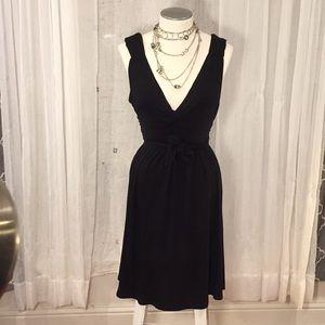 👗 Velvet Torch (L) Black Jersey Wrap Dress Low  V